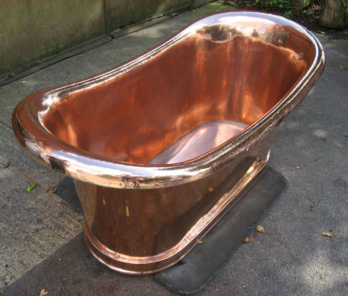 Roll Top Polished Copper Bath