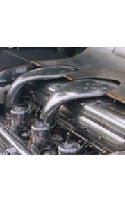 Custom made twin turbo manifolds for a vintage Bentley
