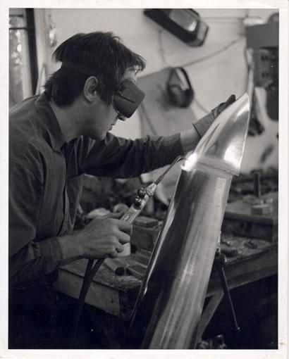 Don Standhaft welding a new panel for a V12 Le Mans Lagonda