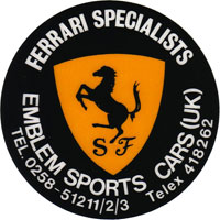 Emblem Sports Cars badge from the 1980's