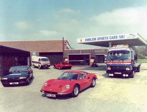 Emblem Sports Cars garage forecourt at Pimperne from the 1980's