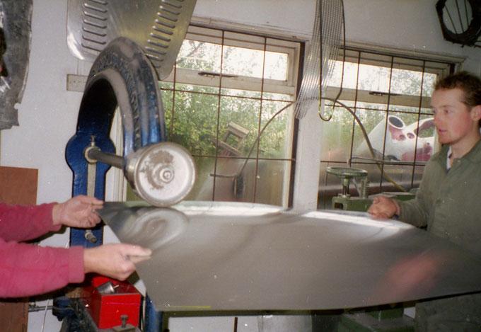 Don Standhaft and Ben Andrews wheeling a panel